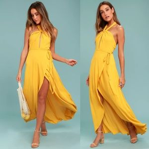 Marisha Golden Yellow Halter Wrap Dress LuLus M